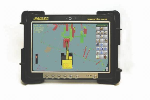 Prolec Digmaster Pro excavator guidance system available from Dennis Barnfield Ltd. Plant machinery sales in the North West since 1964.